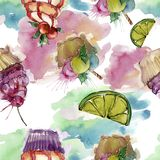 Tasty cupcake in a watercolor style. Aquarelle sweet dessert illustration set. Seamless background pattern. Fabric wallpaper print texture royalty free illustration