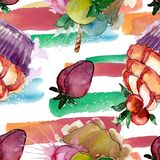 Tasty cupcake in a watercolor style. Aquarelle sweet dessert illustration set. Seamless background pattern. Fabric wallpaper print texture vector illustration