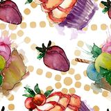 Tasty cupcake in a watercolor style. Aquarelle sweet dessert illustration set. Seamless background pattern. Fabric wallpaper print texture stock illustration