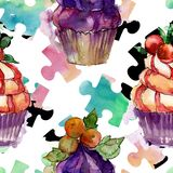 Tasty cupcake in a watercolor style. Aquarelle sweet dessert illustration set. Seamless background pattern. Fabric wallpaper print texture stock image