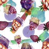 Tasty cupcake in a watercolor style. Aquarelle sweet dessert illustration set. Seamless background pattern. Fabric wallpaper print texture stock photography