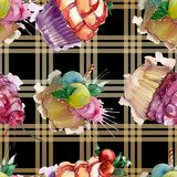 Tasty cupcake in a watercolor style. Aquarelle sweet dessert illustration set. Seamless background pattern. Fabric wallpaper print texture stock photo