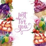 Tasty cupcake in a watercolor style. Aquarelle sweet dessert illustration set. Frame border ornament square. Tasty cupcake in a watercolor style. Watercolour vector illustration