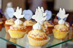Tasty cupcakes. Birdie. The concept of food, party Stock Photos