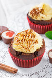 Tasty cupcakes with candies and chocolate on light background close up. Royalty Free Stock Image