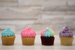 Tasty cupcakes Homemade muffin with cream buttercream for birt royalty free stock image