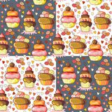 Tasty cupcakes. Seamless pattern of cute sweet cupcakes Stock Photo