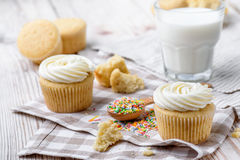Tasty cupcakes on a white wooden table. Vanilla cupcakes on a checkered cloth Horizontal Royalty Free Stock Photos