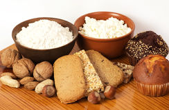 Tasty curd cheese, nuts and musli bars. Royalty Free Stock Images