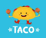 Tasty cute happy smiling taco dance with maracas. Vector modern flat style cartoon character illustration. Isolated on blue background.  mexican food, cafe Stock Photography