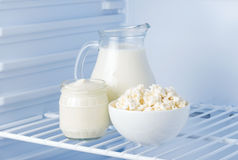 Tasty dairy products: sour cream, cottage cheese, milk Royalty Free Stock Images