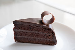 tasty dark chocolate cake on white plate. sliced delicious cocoa Royalty Free Stock Images