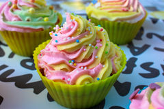 Tasty decorate cupcakes. Pretty delicous decorate colorful cupcakes royalty free stock image