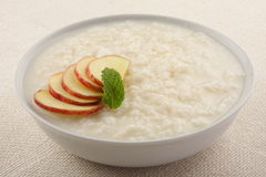 Tasty ,Delicious dessert, rice pudding with apples.. Royalty Free Stock Photos