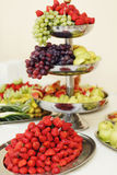 Tasty and delicious healthy fruit table grapes, apples and red s Royalty Free Stock Photos