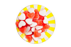 Tasty delicious red mermaids in form of heart on beautiful plate Stock Photo