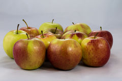 Tasty, delicious ripe apples on a white background Stock Images