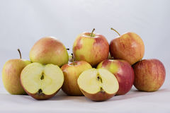 Tasty, delicious ripe apples on a white background Stock Photography