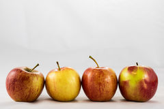 Tasty, delicious ripe apples on a white background Stock Photo