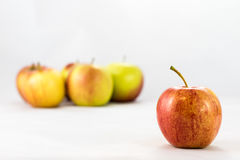Tasty, delicious ripe apples on a white background Stock Image