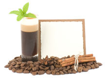 Tasty dessert with coffee beans Royalty Free Stock Photos