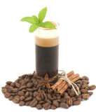 Tasty dessert with coffee beans Royalty Free Stock Images