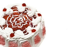 Tasty dessert - iced cake with cherries Stock Photography