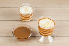 Tasty dessert made with milk, arequipe and cheese - panna cotta royalty free stock photo