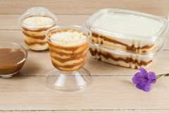 Tasty dessert made with milk, arequipe and cheese - panna cotta stock photography