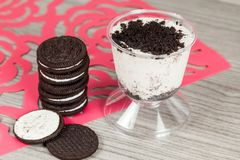 Tasty dessert of milk made with black cookies.  stock images