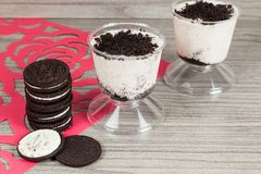 Tasty dessert of milk made with black cookies.  royalty free stock images