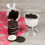 Tasty dessert of milk made with black cookies.  stock photos