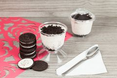 Tasty dessert of milk made with black cookies.  royalty free stock image