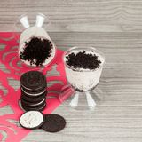Tasty dessert of milk made with black cookies.  royalty free stock photography