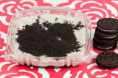 Tasty dessert of milk made with black cookies.  royalty free stock photo