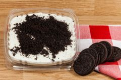 Tasty dessert of milk made with black cookies.  stock image