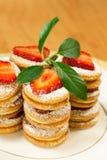 Tasty  dessert with strawberry. Tasty baked celebratory  dessert with strawberry Stock Image