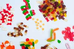 Tasty Different jelly candy on white background Stock Image