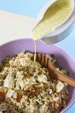Tasty dinner. Pearl barley mush with smoked chicken royalty free stock photo