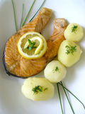 Tasty dinner. Baked salmon Stock Images