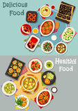 Tasty dinner dishes icon for food theme design Royalty Free Stock Photo
