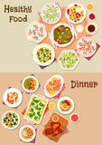 Tasty dinner dishes icon set for food theme design. Tasty dinner dishes icon set of cheese ham and fish salads, egg dishes with cheese and sausage, pasta with Royalty Free Stock Image