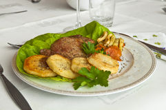 Tasty dinner - roast veal with fried potatoes and vegetables. Tasty dinner at a restaurant - roast veal with fried potatoes and assorted vegetables, decorated Royalty Free Stock Photos