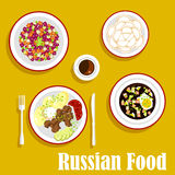 Tasty dinner of russian cuisine flat icon. Popular dishes of russian cuisine with beef stroganoff, served with boiled potatoes, fresh vegetables and sour cream Royalty Free Stock Image