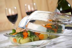 Tasty dinner with wine Royalty Free Stock Photo