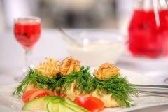 Tasty dish with mushrooms in a restaurant Royalty Free Stock Photos
