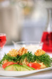 Tasty dish with mushrooms in a restaurant Stock Photo