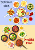 Tasty dishes for dinner menu icon set design Royalty Free Stock Images