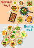 Tasty dishes for lunch menu icon set design Royalty Free Stock Image