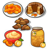 Tasty dishes made from plum, apricot and almond Royalty Free Stock Photo